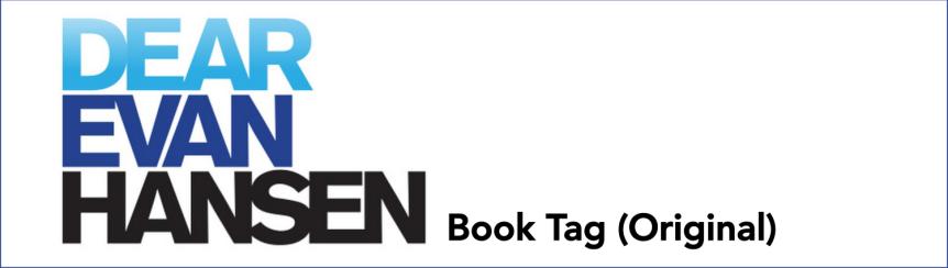 Dear Evan Hansen Book Tag[ORIGINAL]